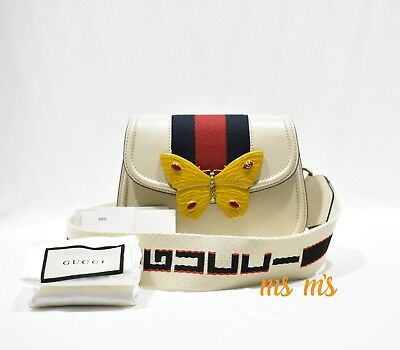 4ea8f483130 NWT Gucci Linea Totem Small Leather Shoulder Bag with Butterfly Web Strap  RARE