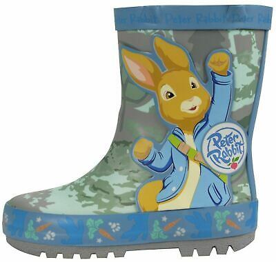 Boys Peter Rabbit Wellington Boot Blue Rain Wellies Mid Calf Snow Kids Size 5-10