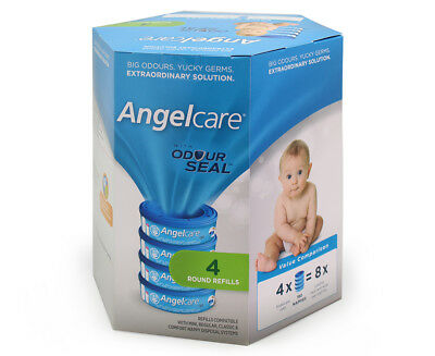 Angelcare Baby Nappy Refill Cassettes 4pk - White/Blue