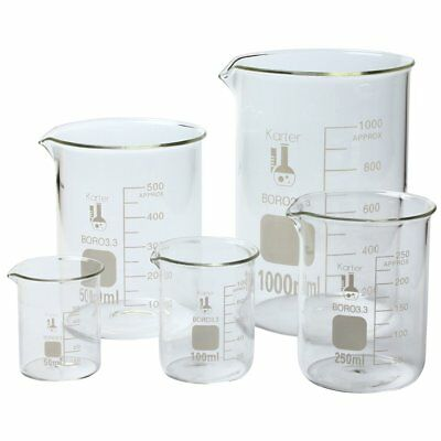 Set of 5 Laboratory Glassware Science Lab Chemistry Beaker New Fast