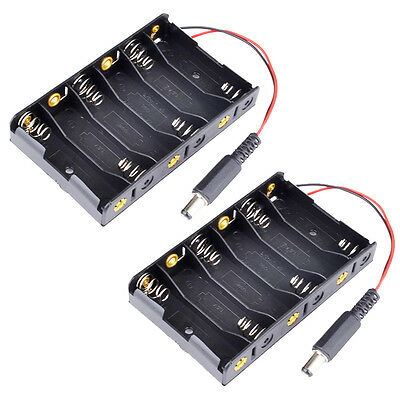 x2PCS New 6 x AA Battery Case Storage Holder With DC2.1  Power Jack For Arduino