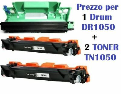 2 Toner Per Brother Tn1050  1 Drum Dr-1050 Per Hl-1110 Hl-1112 Dcp 1610W 1612W..