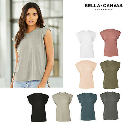 5ebd0dac0 NEW BELLA + Canvas - Women's Flowy Muscle Tee with Rolled Cuffs ...