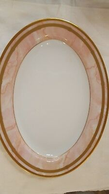 """Christian Dior Marbre Rose fine china Large Oval Platter 14"""" Brand New Condition"""
