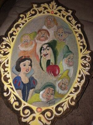Superb Snow White & The Seven Dwarfs Original Pastel Painting On Board Signed