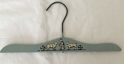 Vintage Child's Painted Clothes Hangers Blue with Dog Decal in Center 11''