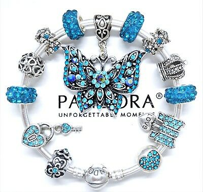 Authentic Pandora Charm Bracelet Silver Bangle With Teal Crystal European Charms