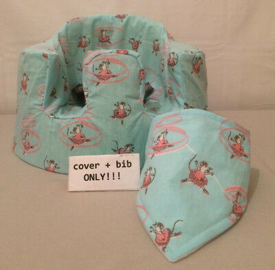 handmade seat cover with harness holes bumbo bib blue pink ballet mice