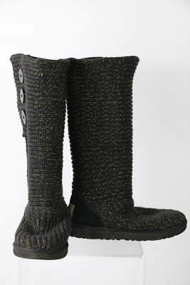 ca239894fed UGG AUSTRALIA BLACK Gold Metallic Cardy Knit Suede Trim Boots 7 s/n 1876