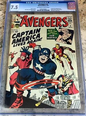 AVENGERS #4 CGC 7.5 OW/W 1964 KEY Comic Book 1 ST SILVER AGE CAPTAIN AMERICA