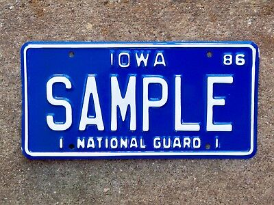 1986 Iowa National Guard Sample License Plate