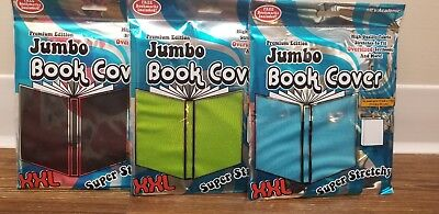 Its Academic Lot of 3 Jumbo XXL Stretchable Fabric Book Covers Green Black Blue