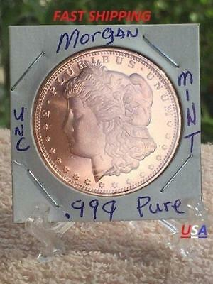 1 OZ 999 Pure Morgan Round Very Clear on Coins are uncirculated Mint Cont.