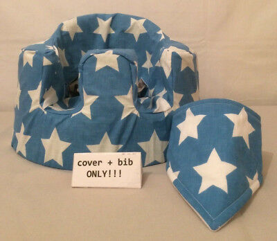handmade seat cover with harness holes bumbo bib blue white stars