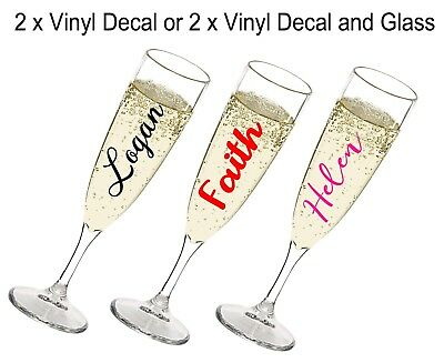 Personalised Name Champagne Flute Glasses and Vinyl - Birthday Hen Night Wedding