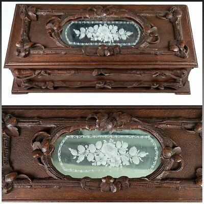 Antique Black Forest Hand Carved Wood Gloves Box, Engraved Mirror Top
