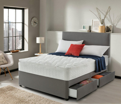 New Suede Divan Base - Under Bed Storage - All Sizes - With Headboard - 4Ft6 4Ft