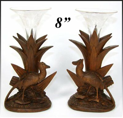 Antique Black Forest Carved Epergne Vase Stand Pair, Game Hens, Intaglio Glass