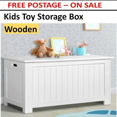 Wooden White Storage Bench Kids Toy Box Linen Chest Lift Up Lid