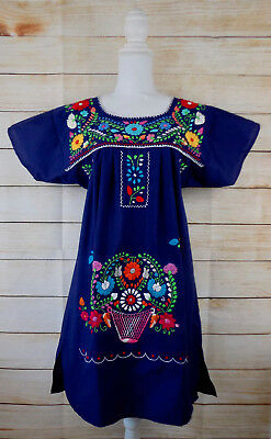 Handmade Womens Embroidered Mexican Dress Navy Blue Medium Peasant Bohemian