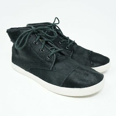 d8609a2c2fd Toms Womens High Top Sneakers Size 8.5 Paseo Black Calf Hair Lace Up