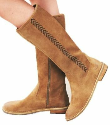 UGG Australia Wilder Riding Tall BOOTS EU 36.5 US 5.5 Suede/Shearling Chestnut