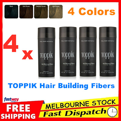 4x Genuine TOPPIK Hair Loss Building Fibers 4 x 27.5g Keratin Concealer