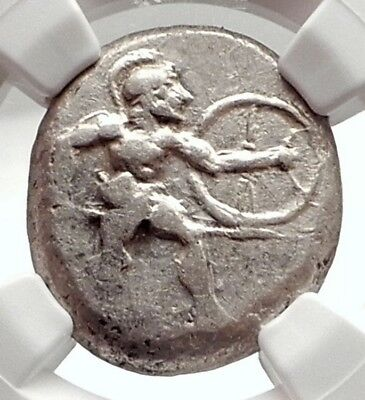 ASPENDOS PAMPHYLIA Ancient 450BC Silver Greek Coin HOPLITE TRISKELES NGC i75086