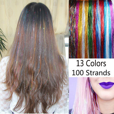 100 Strands Sparkle Hair Tinsel Bling Silk for Hair Extensions Flare Strands
