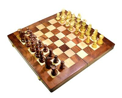 """Indian Hand Made Detailed Chess Pieces & USA Wooden Board Chess Set 14"""""""