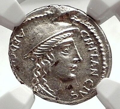 Roman Republic Genuine Ancient Silver Greek Coin DIANA CRETE GOAT NGC MS i75088