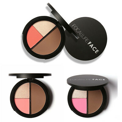 FOCALLURE FA20 3-colors Shimmer bronzers and highlighters powder blusher make W9