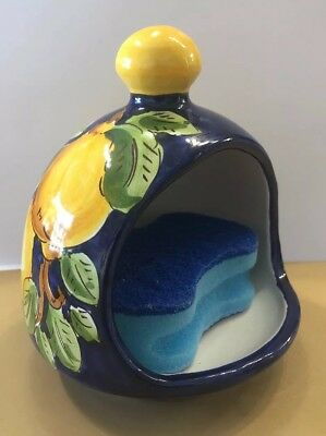 Vietri Pottery-kitchen Sponge Holder With Lemons.Made/Painted by hand in Italy