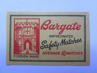 BARGATE MATCHES MATCH BOX LABEL c1960s MEDIUM SIZE FOREIGN MADE CASTLE PICTURED