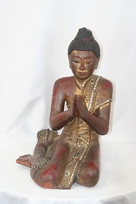 2 Antique Chinese Red Gold Wood Carved Statue Figure Buddha early  20th century