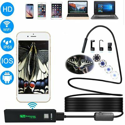 8mm Wireless Endoscope WiFi HD 1200P Snake Tube Camera 8leds for IOS Android  @T