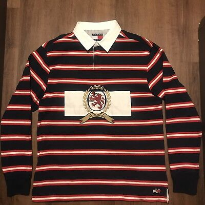 62099475 Vtg Tommy Hilfiger Crest Capsule Stripe Rugby Polo Nwt Red Navy Blue Sz L  Kith
