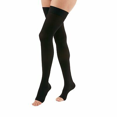 Medi Duomed Advantage Soft Opaque Open Toe Thigh Highs w/Beaded Band - 15-20mmHg
