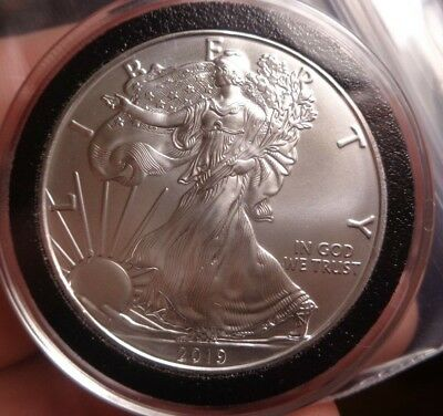 2019 Silver American Eagle 1 Oz .999 Fine One Dollar BU In Deluxe Black Airtite