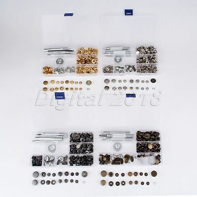 10/12/15/17mm 50Set Snap Fastener Press Stud Buttons Poppers + Fixings Tools Kit