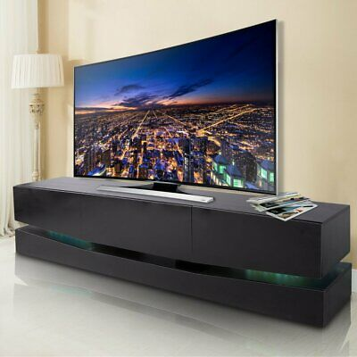 70 Inch Tv Stand Led Lights Wall Mount Entertainment Stand W3 Large