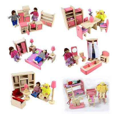 Wooden Furniture Room Set Dolls House Family Miniature Toy for Kids Children New