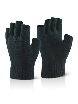 New Premium Mens Thermal Fingerless Gloves Knitted Wooly Exta Soft Winter Mitts
