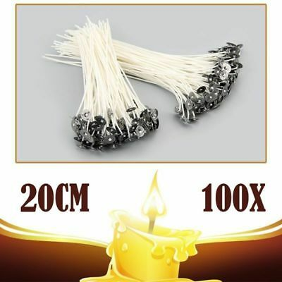 100pcs 20cm Candle Wick Pre Waxed With Sustainers Cotton DIY Candle Making Tools