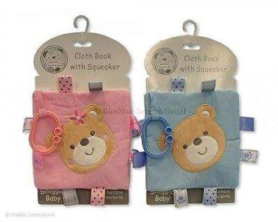 Snuggle Baby New Baby Gift Attachable Cloth Taggie Soft Toy 'Book' With Squeaker