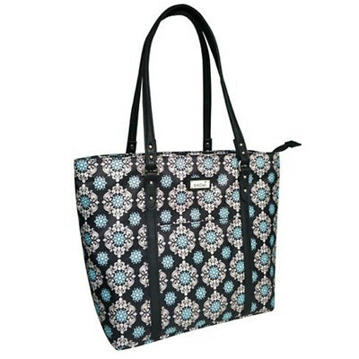 SACHI Insulated Two-Tote Lunch Tote Dual Compartments Handbag Black Medallion!