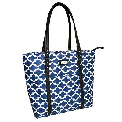SACHI Insulated Two-Tote Lunch Tote Dual Compartments Bag Handbag Moroccan Navy!