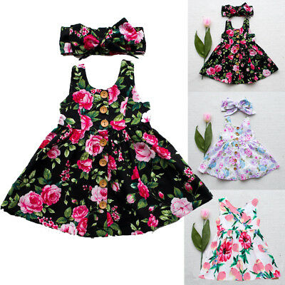 UK Floral Print Toddler Baby Girls Summer Party Dress Princess Pageant Sundress