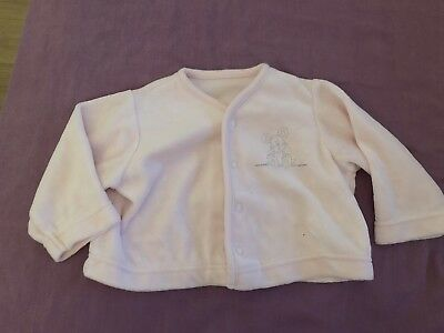 Baby Girls M&S Pink 0-3 Months Cute Mouse Velour Cardigan