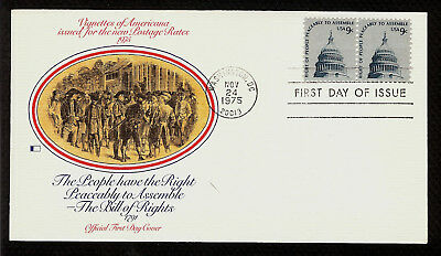 FIRST DAY COVER #1591 Freedom to Assemble 9c Pair FLEETWOOD U/A FDC 1975